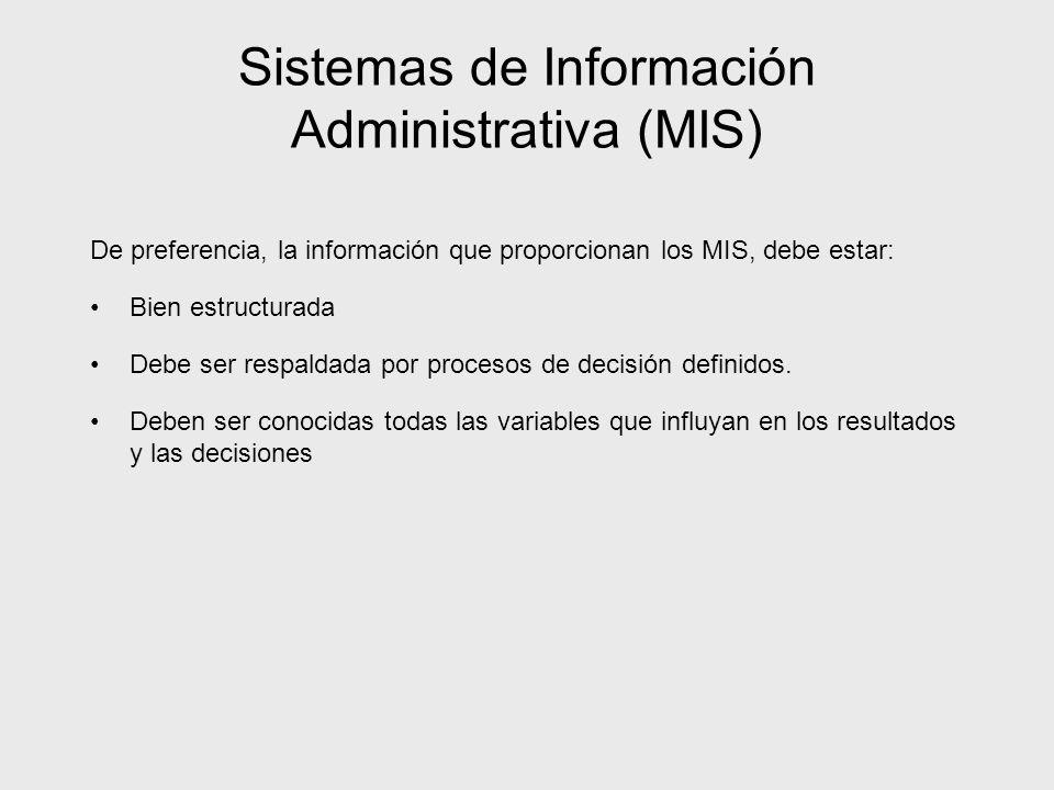 Sistemas de Información Administrativa (MIS) De preferencia, la información que proporcionan los MIS, debe estar: Bien estructurada Debe ser respaldad