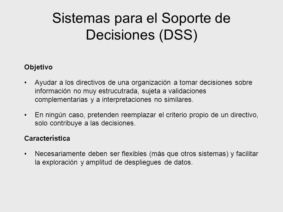 Sistemas para el Soporte de Decisiones (DSS) Objetivo Ayudar a los directivos de una organización a tomar decisiones sobre información no muy estrucut