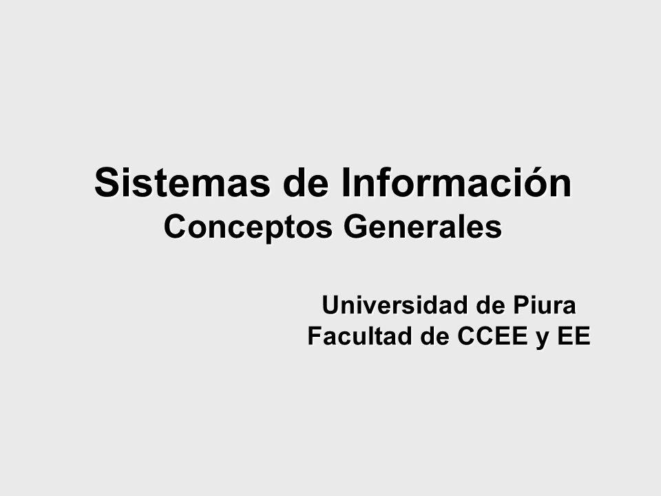 Sistemas de Información Conceptos Generales Universidad de Piura Facultad de CCEE y EE