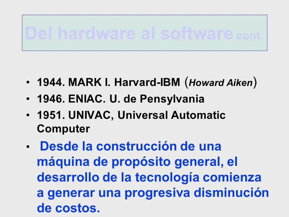 1944. MARK I. Harvard-IBM ( Howard Aiken ) 1946. ENIAC. U. de Pensylvania 1951. UNIVAC, Universal Automatic Computer Desde la construcción de una máqu