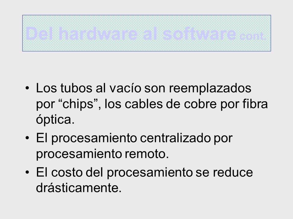 Los tubos al vacío son reemplazados por chips, los cables de cobre por fibra óptica. El procesamiento centralizado por procesamiento remoto. El costo