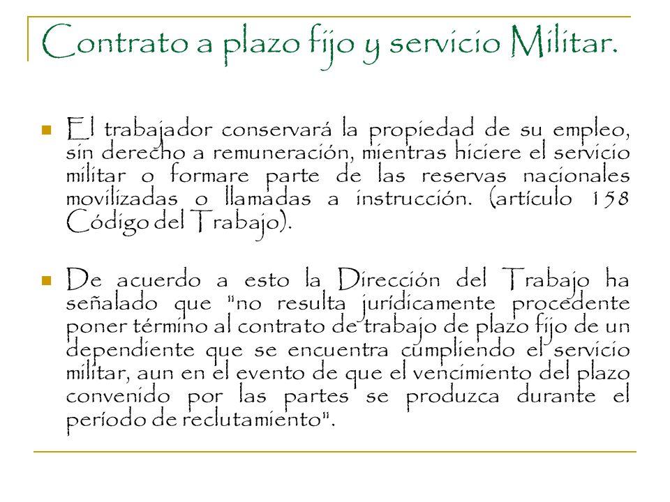 Contrato a plazo fijo y servicio Militar. El trabajador conservará la propiedad de su empleo, sin derecho a remuneración, mientras hiciere el servicio