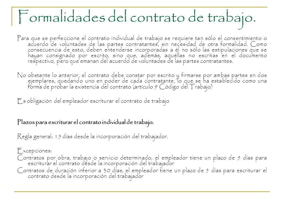 Formalidades del contrato de trabajo. Para que se perfeccione el contrato individual de trabajo se requiere tan sólo el consentimiento o acuerdo de vo
