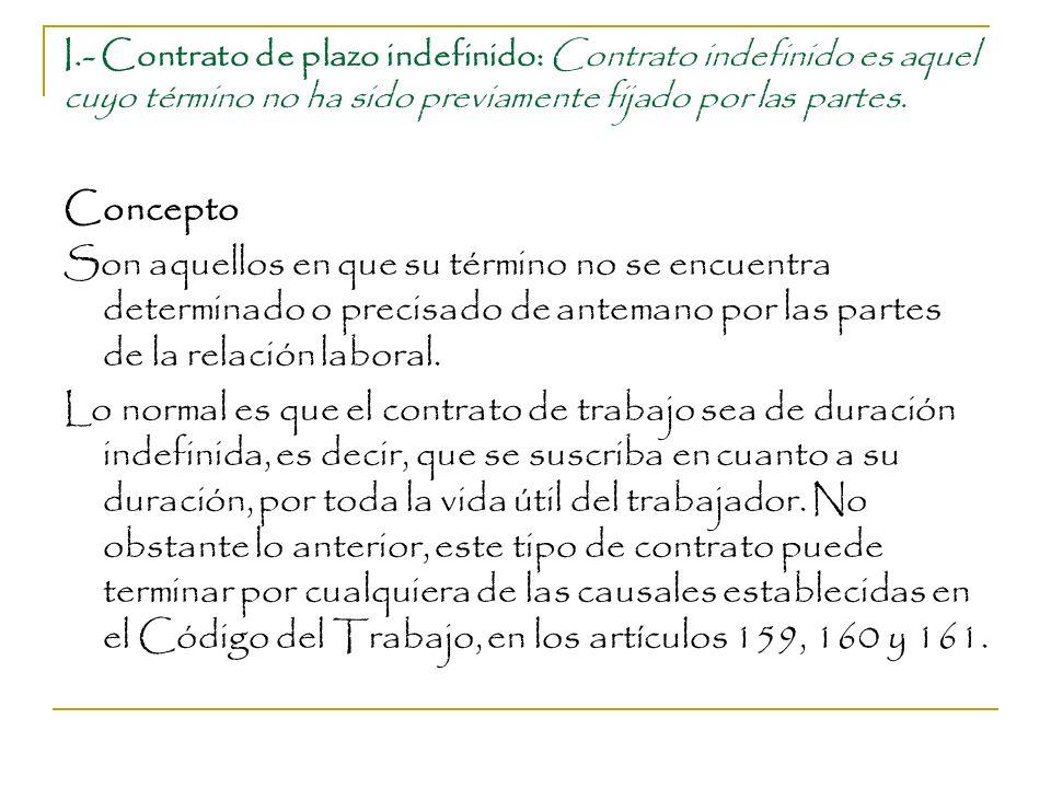 I.- Contrato de plazo indefinido: Contrato indefinido es aquel cuyo término no ha sido previamente fijado por las partes. Concepto Son aquellos en que
