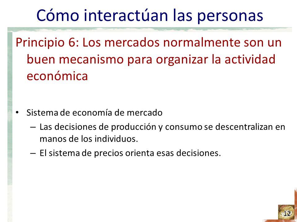 Cómo interactúan las personas Principio 6: Los mercados normalmente son un buen mecanismo para organizar la actividad económica Sistema de economía de mercado – Las decisiones de producción y consumo se descentralizan en manos de los individuos.