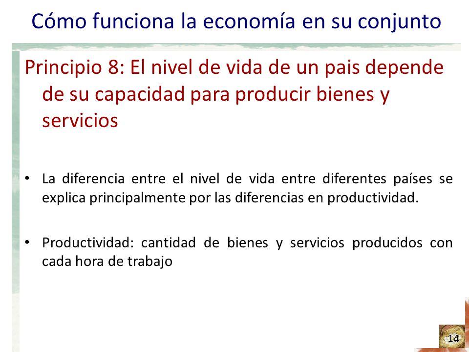Cómo funciona la economía en su conjunto Principio 8: El nivel de vida de un pais depende de su capacidad para producir bienes y servicios La diferencia entre el nivel de vida entre diferentes países se explica principalmente por las diferencias en productividad.