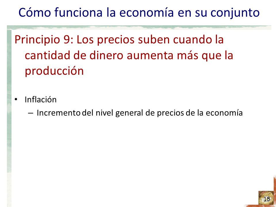 Cómo funciona la economía en su conjunto Principio 9: Los precios suben cuando la cantidad de dinero aumenta más que la producción Inflación – Incremento del nivel general de precios de la economía 15
