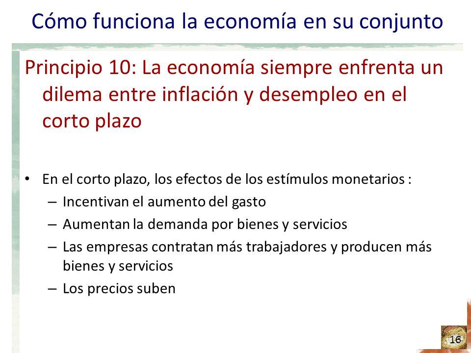 Cómo funciona la economía en su conjunto Principio 10: La economía siempre enfrenta un dilema entre inflación y desempleo en el corto plazo En el corto plazo, los efectos de los estímulos monetarios : – Incentivan el aumento del gasto – Aumentan la demanda por bienes y servicios – Las empresas contratan más trabajadores y producen más bienes y servicios – Los precios suben 16