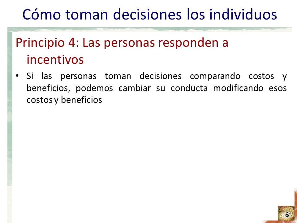 Cómo toman decisiones los individuos Principio 4: Las personas responden a incentivos Si las personas toman decisiones comparando costos y beneficios,