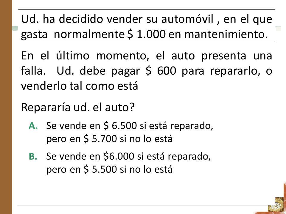 Ud. ha decidido vender su automóvil, en el que gasta normalmente $ 1.000 en mantenimiento. En el último momento, el auto presenta una falla. Ud. debe