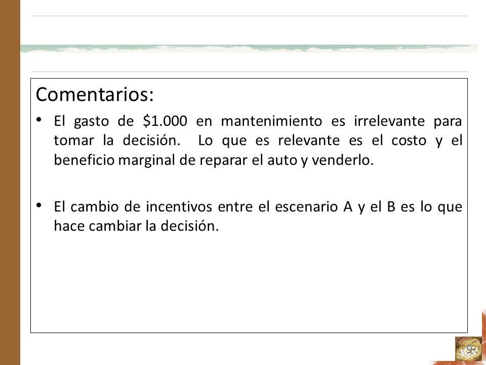 Comentarios: El gasto de $1.000 en mantenimiento es irrelevante para tomar la decisión. Lo que es relevante es el costo y el beneficio marginal de rep