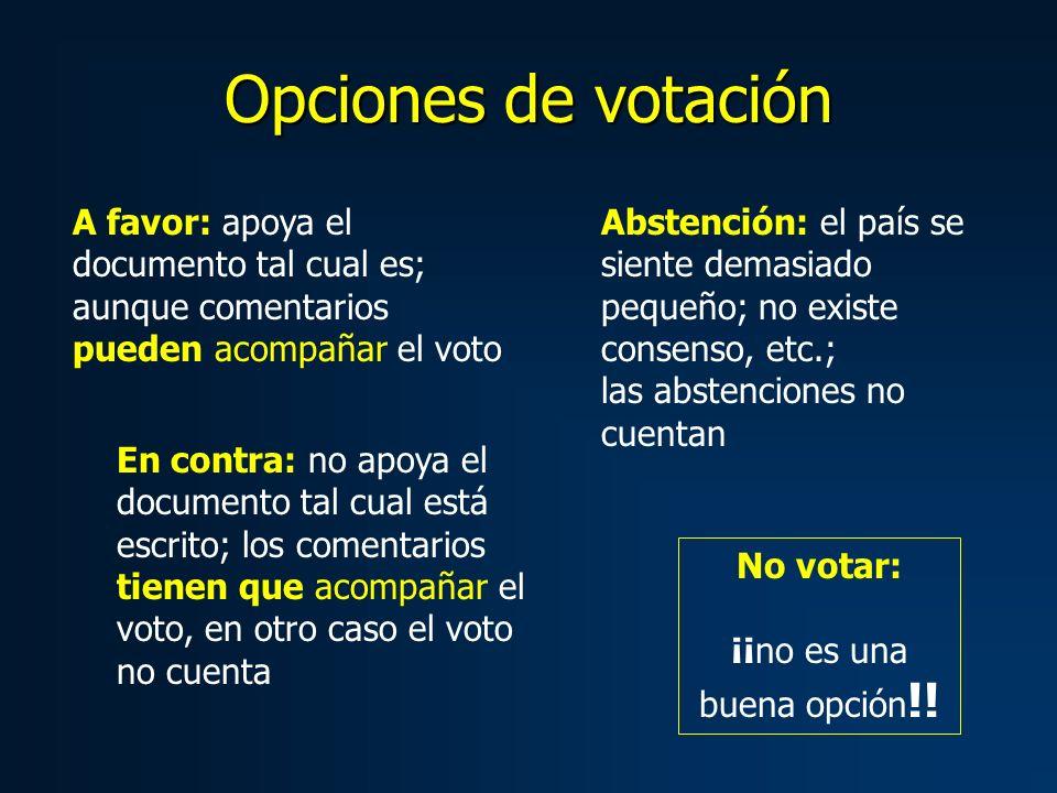 Opciones de votación A favor: apoya el documento tal cual es; aunque comentarios pueden acompañar el voto En contra: no apoya el documento tal cual es