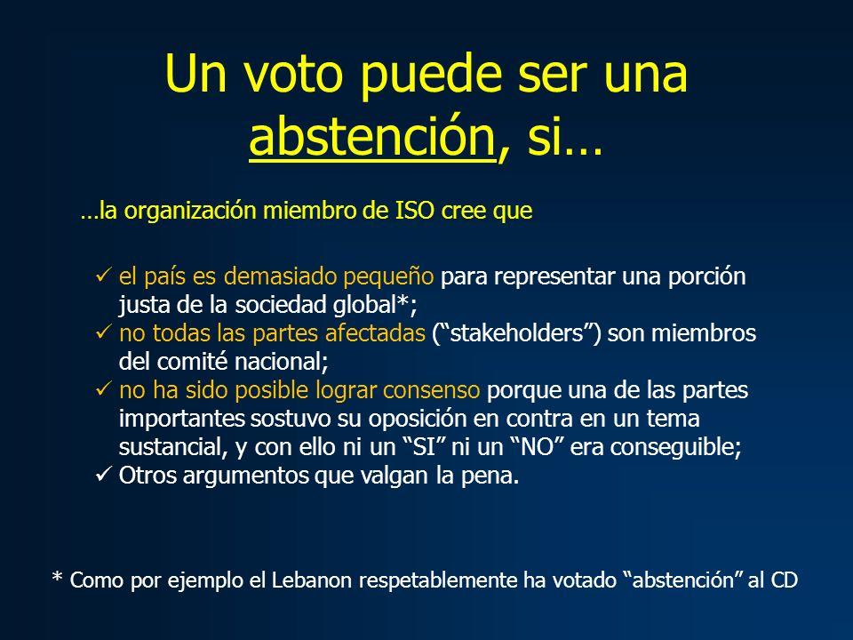 Un voto puede ser una abstención, si… el país es demasiado pequeño para representar una porción justa de la sociedad global*; no todas las partes afec