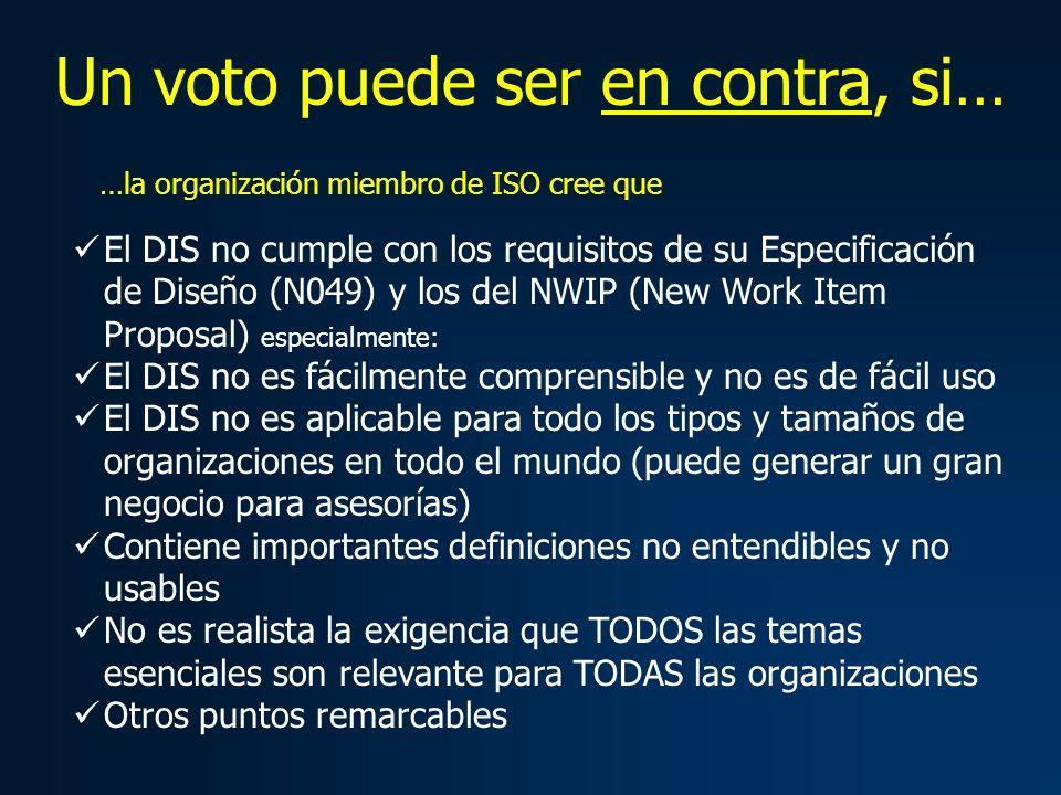 Un voto puede ser en contra, si… El DIS no cumple con los requisitos de su Especificación de Diseño (N049) y los del NWIP (New Work Item Proposal) esp