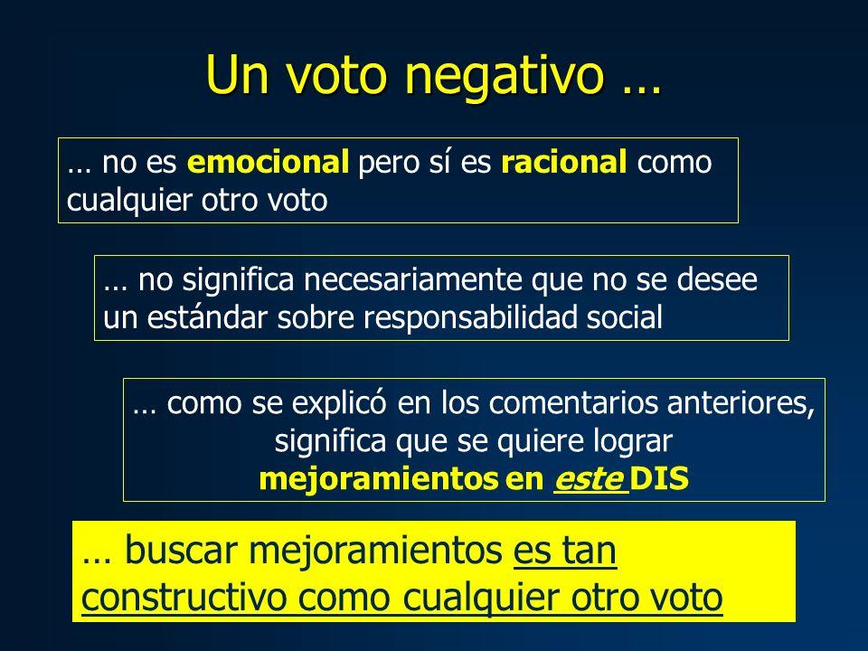 Un voto negativo … … no significa necesariamente que no se desee un estándar sobre responsabilidad social … como se explicó en los comentarios anterio
