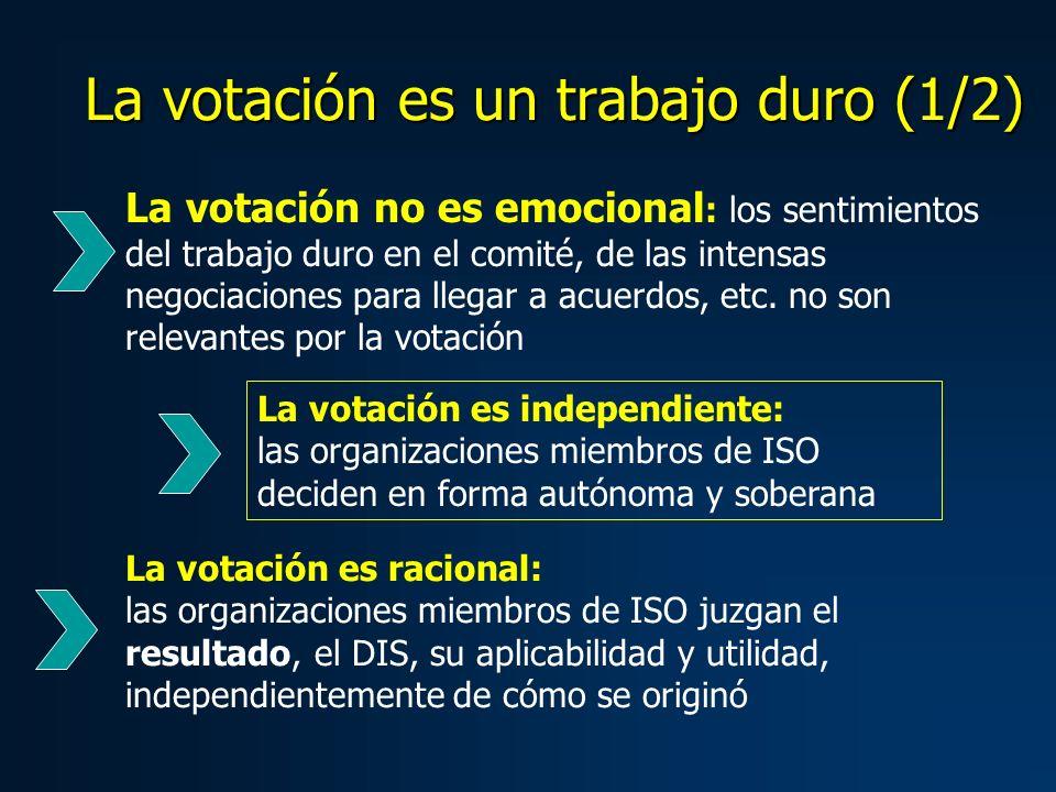 La votación es un trabajo duro (2/2) Hacer accesible el DIS, si es necesario en idioma nacional Estudiar el DIS Evaluar el cumplimiento de los requisitos de la especificación de diseño, su aplicabilidad y utilidad Consultar a los usuarios nacionales sobre sus puntos de vista Aplicar el DIS en la propia organización, es decir, la organización miembro de ISO, como uno de sus usuarios Desarrollar comentarios nacionales Negociar consenso para la opinión nacional La votación responsable incluye: