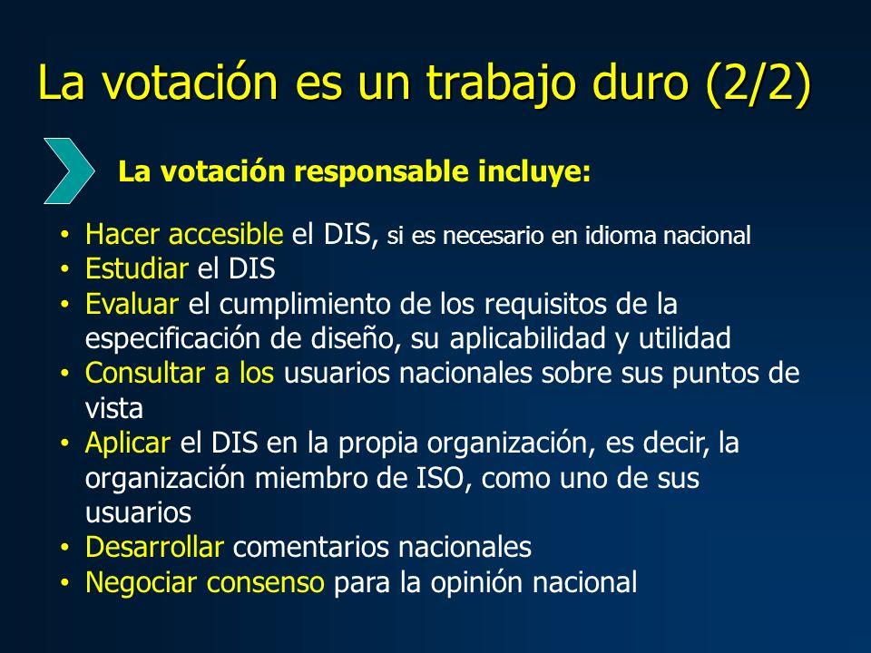 La votación es un trabajo duro (2/2) Hacer accesible el DIS, si es necesario en idioma nacional Estudiar el DIS Evaluar el cumplimiento de los requisi