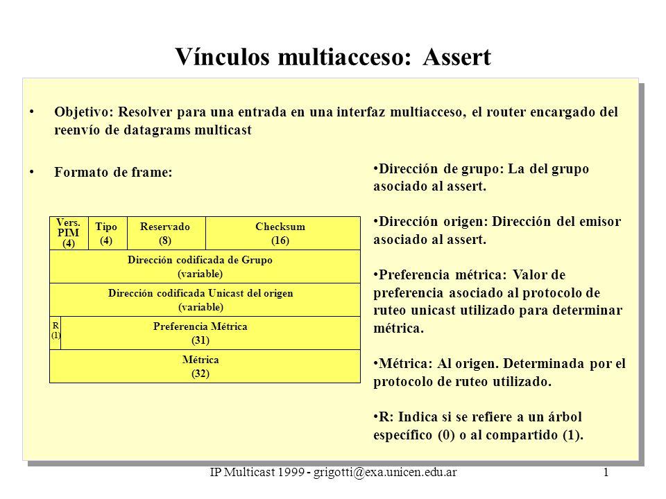 IP Multicast 1999 - grigotti@exa.unicen.edu.ar1 Vínculos multiacceso: Assert Objetivo: Resolver para una entrada en una interfaz multiacceso, el router encargado del reenvío de datagrams multicast Formato de frame: Objetivo: Resolver para una entrada en una interfaz multiacceso, el router encargado del reenvío de datagrams multicast Formato de frame: Vers.