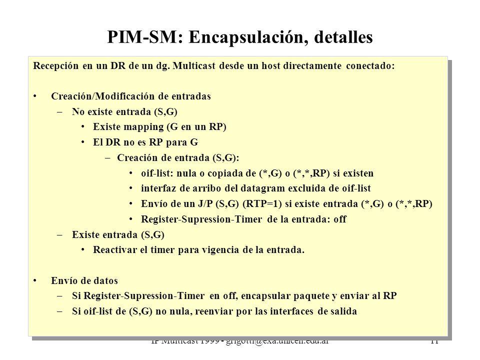 IP Multicast 1999 - grigotti@exa.unicen.edu.ar11 PIM-SM: Encapsulación, detalles Recepción en un DR de un dg.