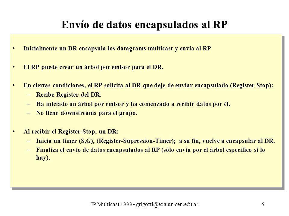 IP Multicast 1999 - grigotti@exa.unicen.edu.ar5 Envío de datos encapsulados al RP Inicialmente un DR encapsula los datagrams multicast y envía al RP El RP puede crear un árbol por emisor para el DR.