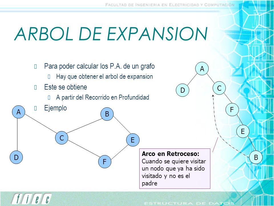ARBOL DE EXPANSION Para poder calcular los P.A. de un grafo Hay que obtener el arbol de expansion Este se obtiene A partir del Recorrido en Profundida
