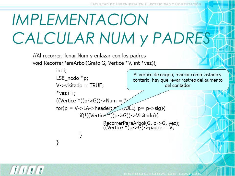 IMPLEMENTACION CALCULAR NUM y PADRES //Al recorrer, llenar Num y enlazar con los padres void RecorrerParaArbol(Grafo G, Vertice *V, int *vez){ int i;