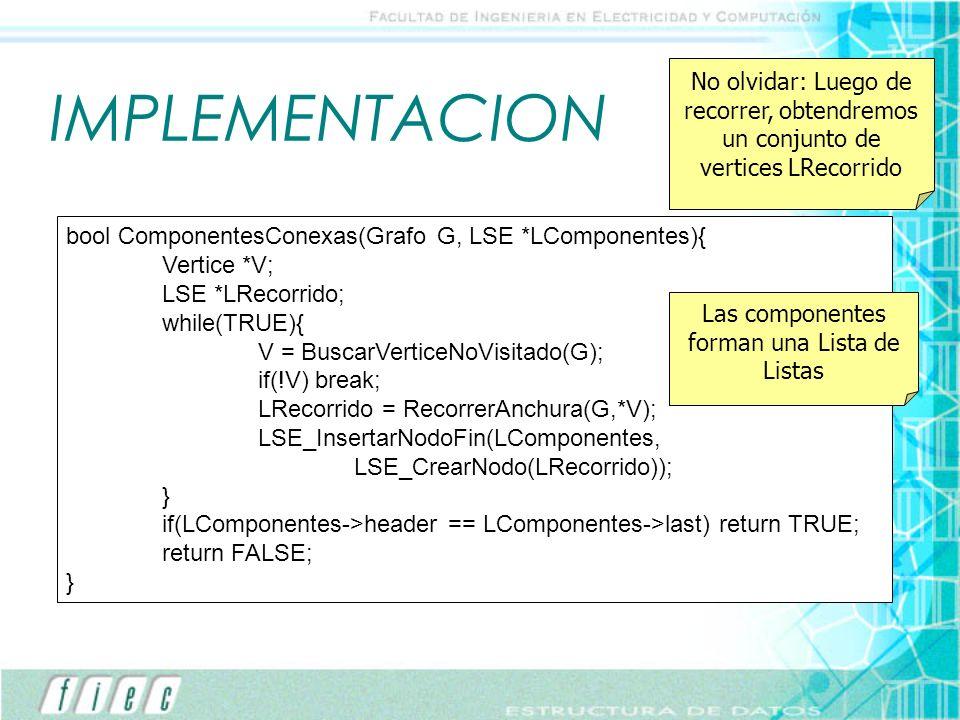 IMPLEMENTACION bool ComponentesConexas(Grafo G, LSE *LComponentes){ Vertice *V; LSE *LRecorrido; while(TRUE){ V = BuscarVerticeNoVisitado(G); if(!V) b