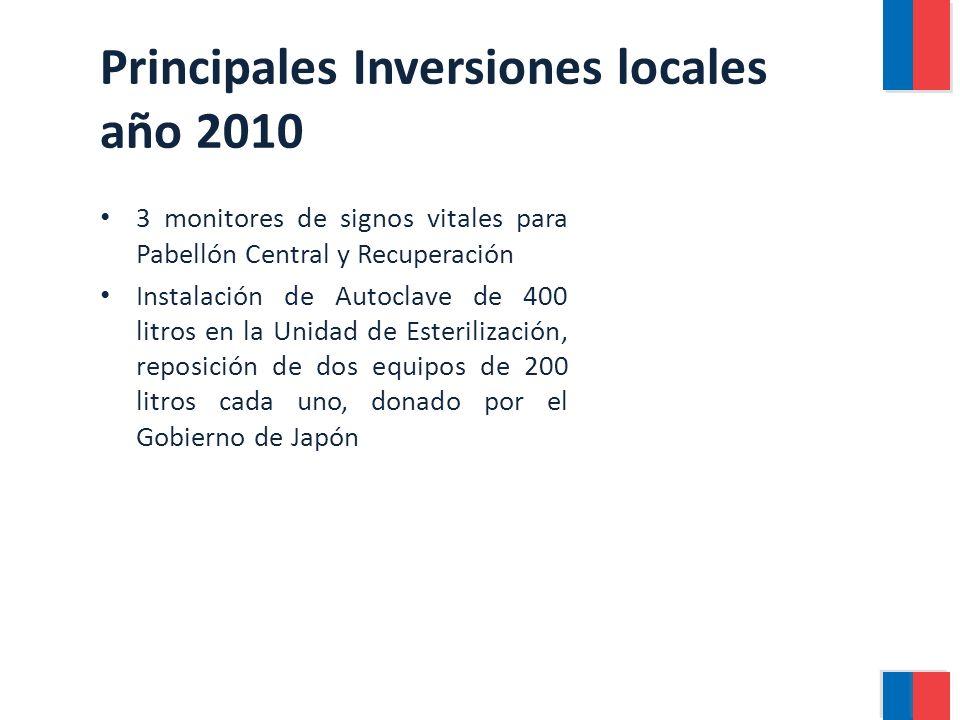 Principales Inversiones locales año 2010 3 monitores de signos vitales para Pabellón Central y Recuperación Instalación de Autoclave de 400 litros en la Unidad de Esterilización, reposición de dos equipos de 200 litros cada uno, donado por el Gobierno de Japón