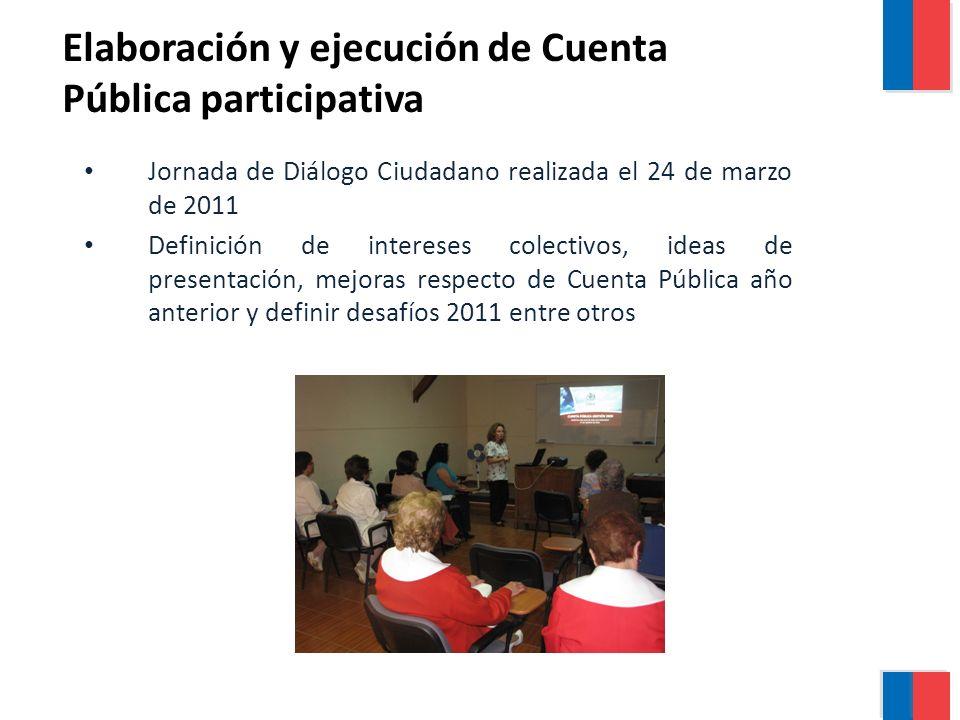 Jornada de Diálogo Ciudadano realizada el 24 de marzo de 2011 Definición de intereses colectivos, ideas de presentación, mejoras respecto de Cuenta Pública año anterior y definir desafíos 2011 entre otros Elaboración y ejecución de Cuenta Pública participativa