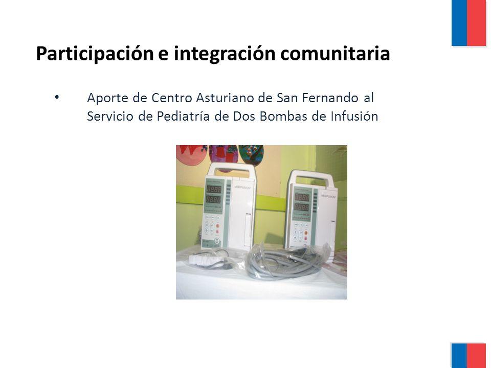 Aporte de Centro Asturiano de San Fernando al Servicio de Pediatría de Dos Bombas de Infusión Participación e integración comunitaria