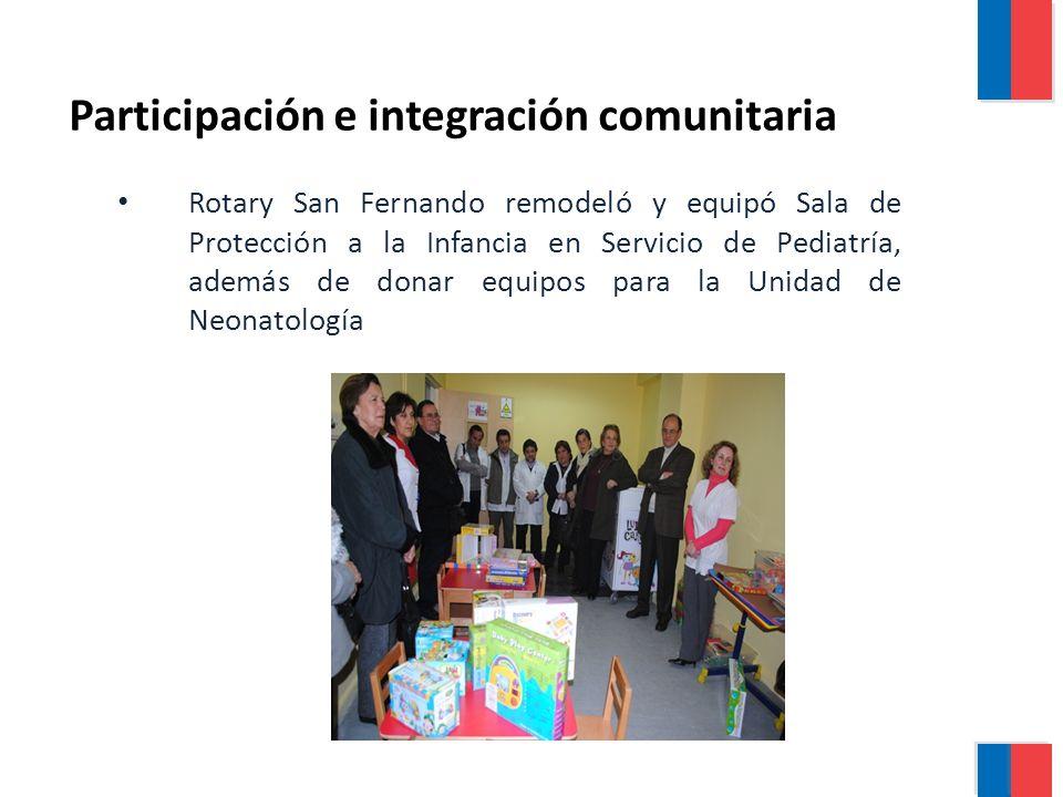 Rotary San Fernando remodeló y equipó Sala de Protección a la Infancia en Servicio de Pediatría, además de donar equipos para la Unidad de Neonatología Participación e integración comunitaria