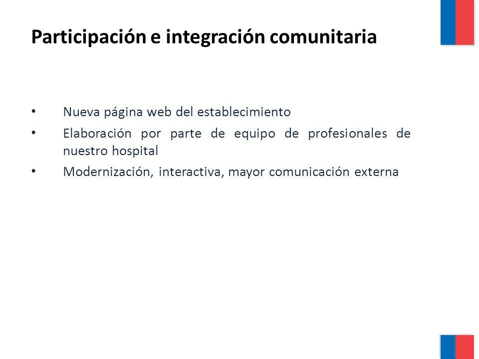 Nueva página web del establecimiento Elaboración por parte de equipo de profesionales de nuestro hospital Modernización, interactiva, mayor comunicación externa Participación e integración comunitaria