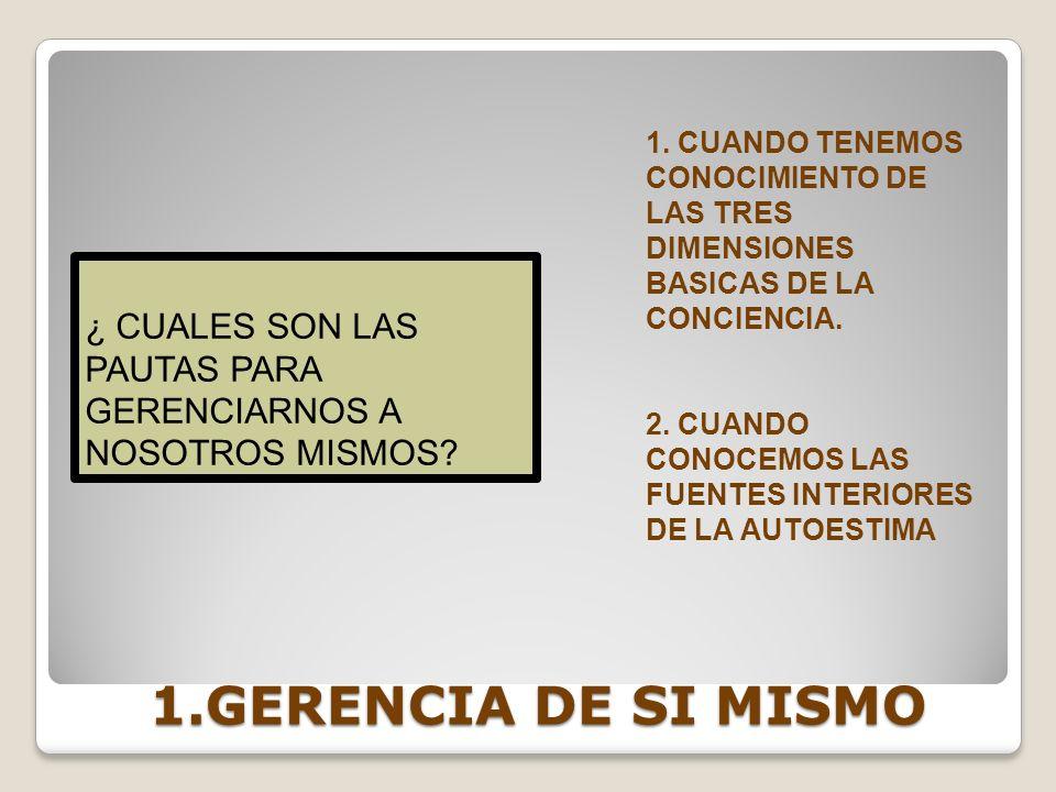 1.GERENCIA DE SI MISMO 1. CUANDO TENEMOS CONOCIMIENTO DE LAS TRES DIMENSIONES BASICAS DE LA CONCIENCIA. 2. CUANDO CONOCEMOS LAS FUENTES INTERIORES DE
