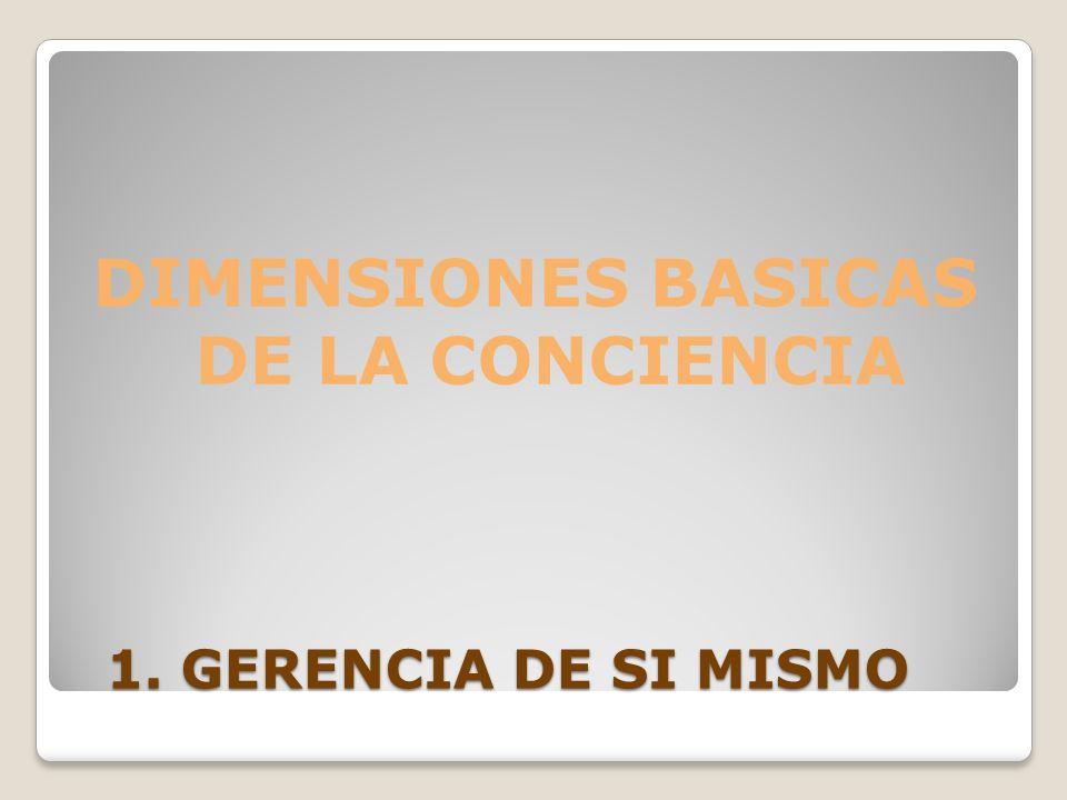 1. GERENCIA DE SI MISMO 1. GERENCIA DE SI MISMO DIMENSIONES BASICAS DE LA CONCIENCIA