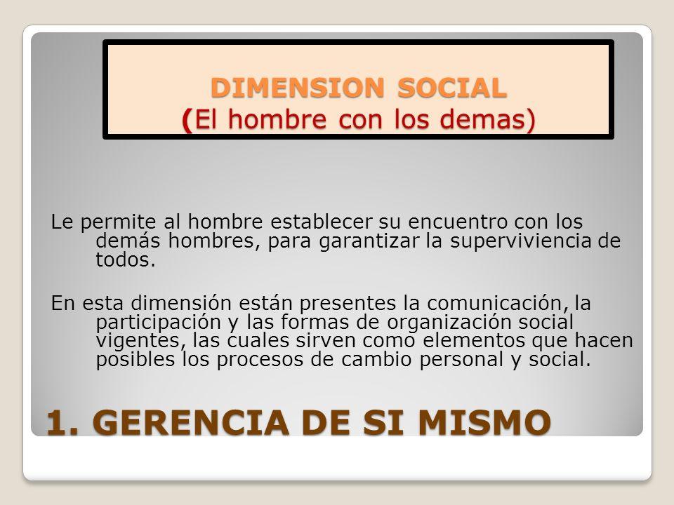 1. GERENCIA DE SI MISMO Le permite al hombre establecer su encuentro con los demás hombres, para garantizar la superviviencia de todos. En esta dimens
