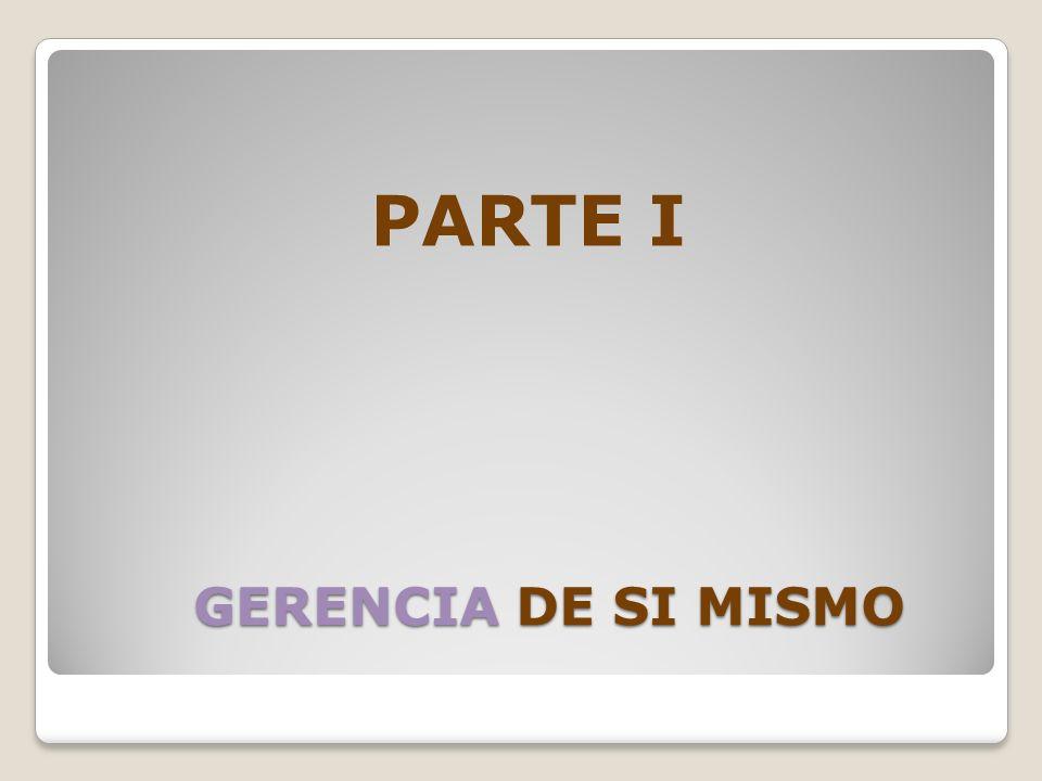 GERENCIA DE SI MISMO GERENCIA DE SI MISMO PARTE I
