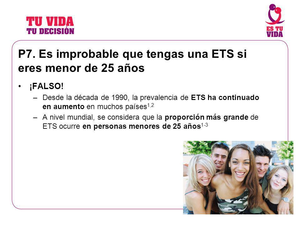 P7. Es improbable que tengas una ETS si eres menor de 25 años ¡FALSO! –Desde la década de 1990, la prevalencia de ETS ha continuado en aumento en much