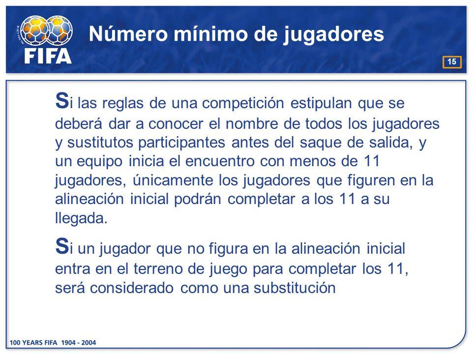15 Número mínimo de jugadores S i las reglas de una competición estipulan que se deberá dar a conocer el nombre de todos los jugadores y sustitutos pa