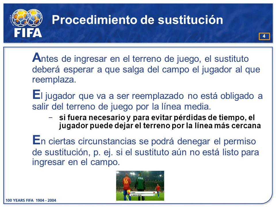 4 Procedimiento de sustitución A ntes de ingresar en el terreno de juego, el sustituto deberá esperar a que salga del campo el jugador al que reemplaz