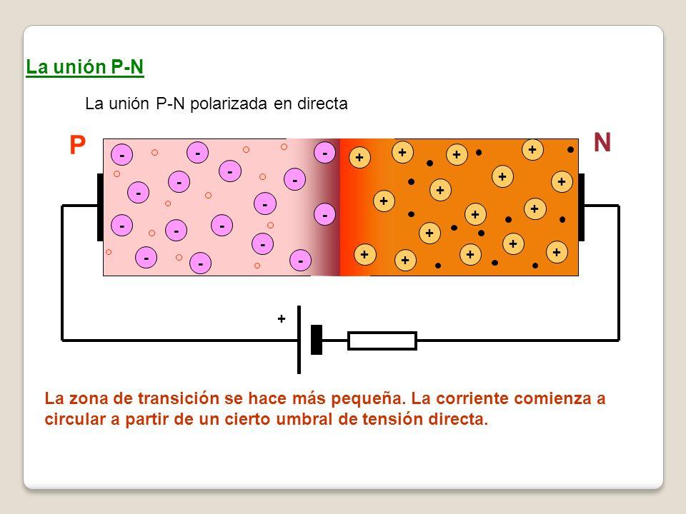 La unión P-N La unión P-N polarizada en directa - - - - - - - - + + + + + + + - - - - + + + + - - - - + + + + + La zona de transición se hace más pequ