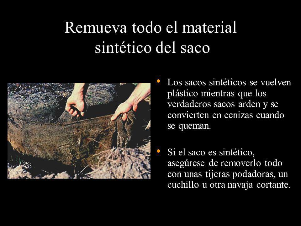 Remueva todo el material sintético del saco Los sacos sintéticos se vuelven plástico mientras que los verdaderos sacos arden y se convierten en ceniza