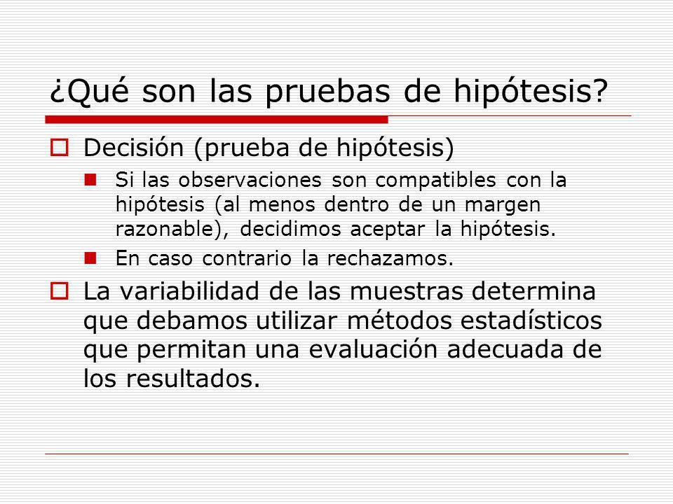 ¿Qué son las pruebas de hipótesis? Decisión (prueba de hipótesis) Si las observaciones son compatibles con la hipótesis (al menos dentro de un margen