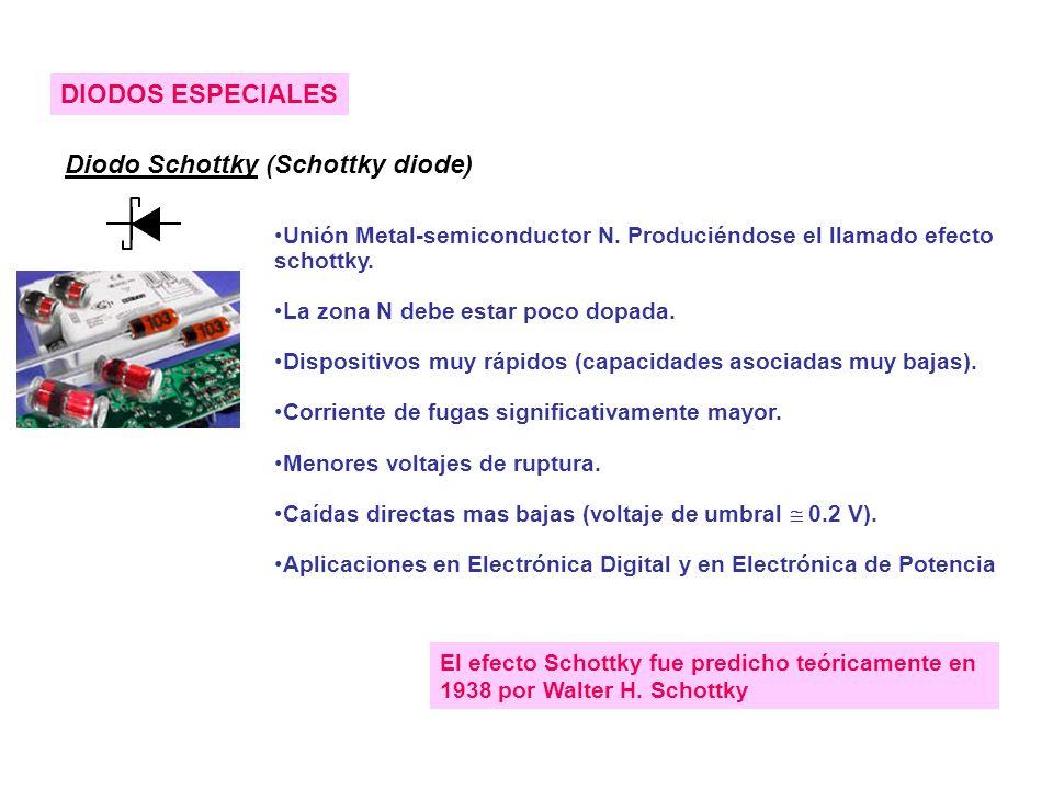 DIODOS ESPECIALES Diodo Schottky (Schottky diode) Unión Metal-semiconductor N. Produciéndose el llamado efecto schottky. La zona N debe estar poco dop