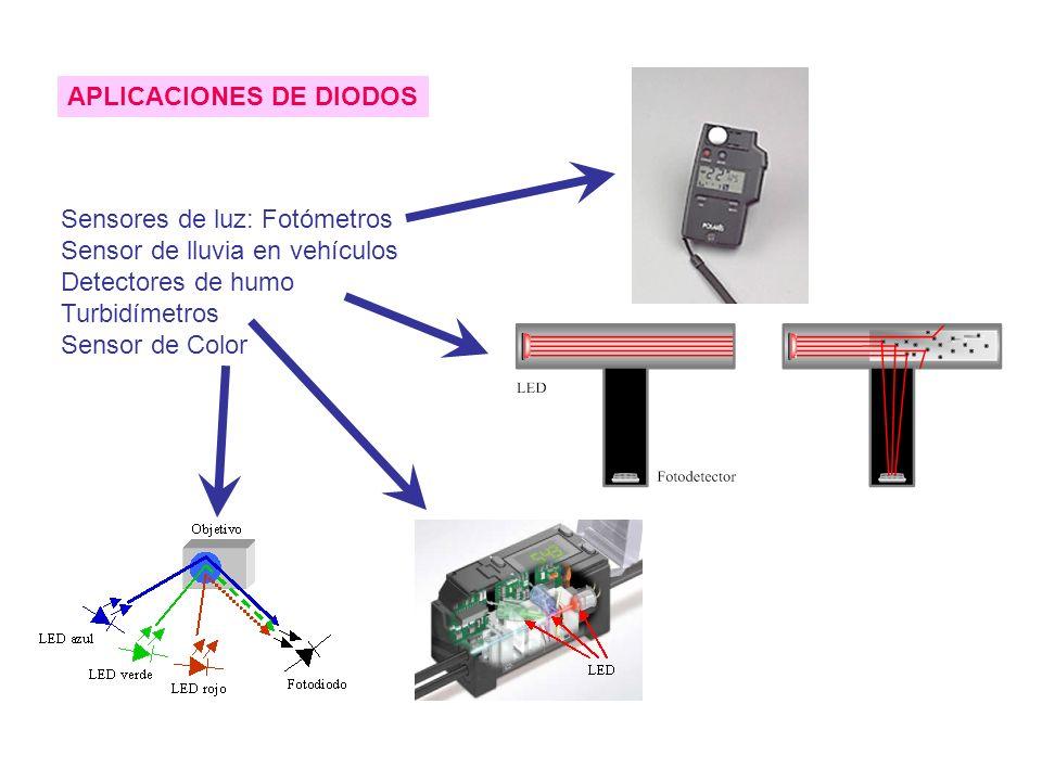 APLICACIONES DE DIODOS Sensores de luz: Fotómetros Sensor de lluvia en vehículos Detectores de humo Turbidímetros Sensor de Color