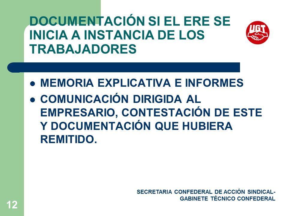 12 DOCUMENTACIÓN SI EL ERE SE INICIA A INSTANCIA DE LOS TRABAJADORES MEMORIA EXPLICATIVA E INFORMES COMUNICACIÓN DIRIGIDA AL EMPRESARIO, CONTESTACIÓN DE ESTE Y DOCUMENTACIÓN QUE HUBIERA REMITIDO.