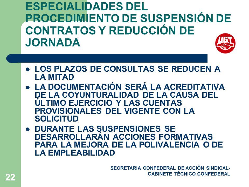 22 ESPECIALIDADES DEL PROCEDIMIENTO DE SUSPENSIÓN DE CONTRATOS Y REDUCCIÓN DE JORNADA LOS PLAZOS DE CONSULTAS SE REDUCEN A LA MITAD LA DOCUMENTACIÓN SERÁ LA ACREDITATIVA DE LA COYUNTURALIDAD DE LA CAUSA DEL ÚLTIMO EJERCICIO Y LAS CUENTAS PROVISIONALES DEL VIGENTE CON LA SOLICITUD DURANTE LAS SUSPENSIONES SE DESARROLLARÁN ACCIONES FORMATIVAS PARA LA MEJORA DE LA POLIVALENCIA O DE LA EMPLEABILIDAD