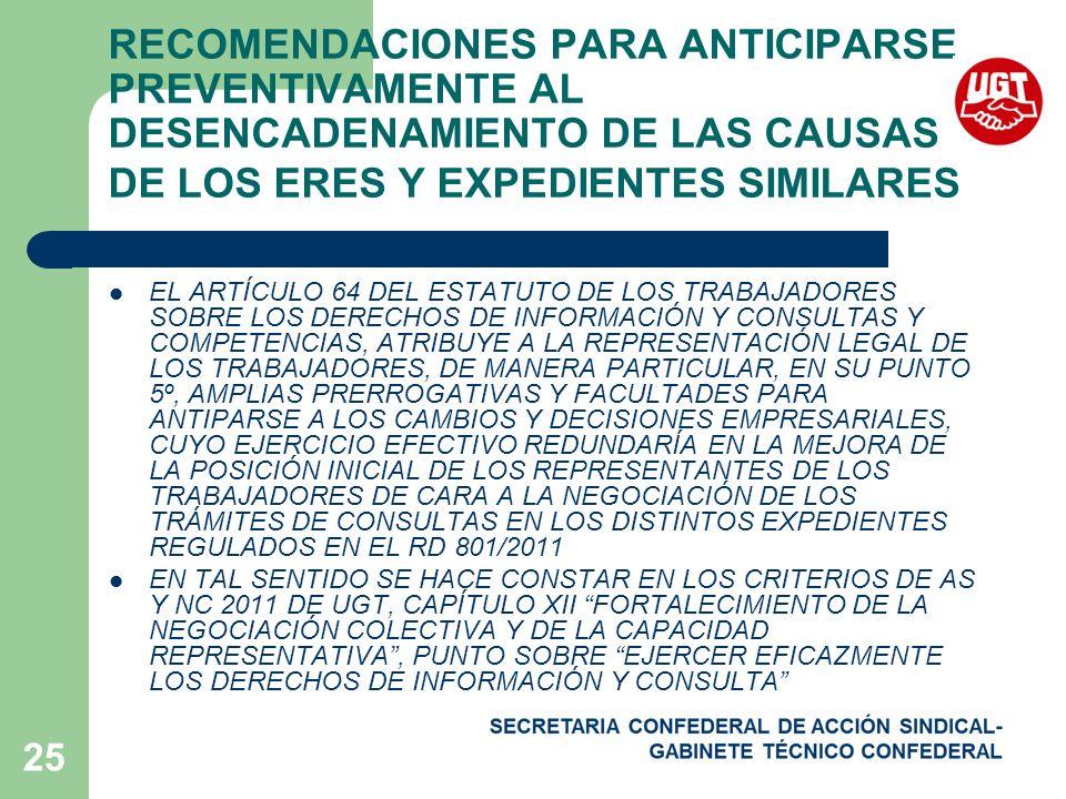 25 RECOMENDACIONES PARA ANTICIPARSE PREVENTIVAMENTE AL DESENCADENAMIENTO DE LAS CAUSAS DE LOS ERES Y EXPEDIENTES SIMILARES EL ARTÍCULO 64 DEL ESTATUTO DE LOS TRABAJADORES SOBRE LOS DERECHOS DE INFORMACIÓN Y CONSULTAS Y COMPETENCIAS, ATRIBUYE A LA REPRESENTACIÓN LEGAL DE LOS TRABAJADORES, DE MANERA PARTICULAR, EN SU PUNTO 5º, AMPLIAS PRERROGATIVAS Y FACULTADES PARA ANTIPARSE A LOS CAMBIOS Y DECISIONES EMPRESARIALES, CUYO EJERCICIO EFECTIVO REDUNDARÍA EN LA MEJORA DE LA POSICIÓN INICIAL DE LOS REPRESENTANTES DE LOS TRABAJADORES DE CARA A LA NEGOCIACIÓN DE LOS TRÁMITES DE CONSULTAS EN LOS DISTINTOS EXPEDIENTES REGULADOS EN EL RD 801/2011 EN TAL SENTIDO SE HACE CONSTAR EN LOS CRITERIOS DE AS Y NC 2011 DE UGT, CAPÍTULO XII FORTALECIMIENTO DE LA NEGOCIACIÓN COLECTIVA Y DE LA CAPACIDAD REPRESENTATIVA, PUNTO SOBRE EJERCER EFICAZMENTE LOS DERECHOS DE INFORMACIÓN Y CONSULTA
