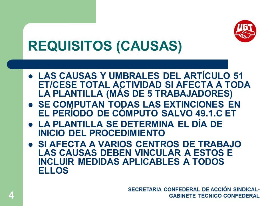 4 REQUISITOS (CAUSAS) LAS CAUSAS Y UMBRALES DEL ARTÍCULO 51 ET/CESE TOTAL ACTIVIDAD SI AFECTA A TODA LA PLANTILLA (MÁS DE 5 TRABAJADORES) SE COMPUTAN TODAS LAS EXTINCIONES EN EL PERÍODO DE CÓMPUTO SALVO 49.1.C ET LA PLANTILLA SE DETERMINA EL DÍA DE INICIO DEL PROCEDIMIENTO SI AFECTA A VARIOS CENTROS DE TRABAJO LAS CAUSAS DEBEN VINCULAR A ESTOS E INCLUIR MEDIDAS APLICABLES A TODOS ELLOS