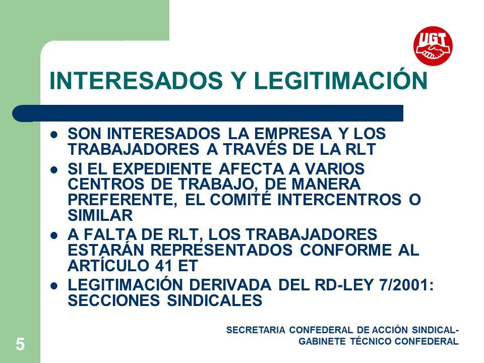 5 INTERESADOS Y LEGITIMACIÓN SON INTERESADOS LA EMPRESA Y LOS TRABAJADORES A TRAVÉS DE LA RLT SI EL EXPEDIENTE AFECTA A VARIOS CENTROS DE TRABAJO, DE MANERA PREFERENTE, EL COMITÉ INTERCENTROS O SIMILAR A FALTA DE RLT, LOS TRABAJADORES ESTARÁN REPRESENTADOS CONFORME AL ARTÍCULO 41 ET LEGITIMACIÓN DERIVADA DEL RD-LEY 7/2001: SECCIONES SINDICALES