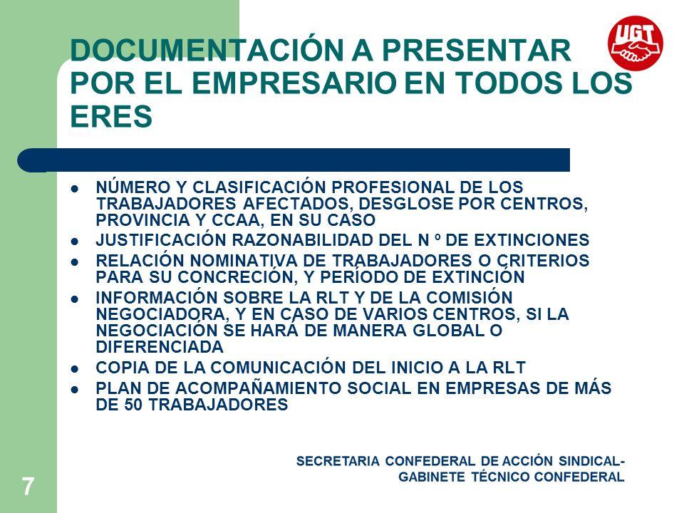 7 DOCUMENTACIÓN A PRESENTAR POR EL EMPRESARIO EN TODOS LOS ERES NÚMERO Y CLASIFICACIÓN PROFESIONAL DE LOS TRABAJADORES AFECTADOS, DESGLOSE POR CENTROS, PROVINCIA Y CCAA, EN SU CASO JUSTIFICACIÓN RAZONABILIDAD DEL N º DE EXTINCIONES RELACIÓN NOMINATIVA DE TRABAJADORES O CRITERIOS PARA SU CONCRECIÓN, Y PERÍODO DE EXTINCIÓN INFORMACIÓN SOBRE LA RLT Y DE LA COMISIÓN NEGOCIADORA, Y EN CASO DE VARIOS CENTROS, SI LA NEGOCIACIÓN SE HARÁ DE MANERA GLOBAL O DIFERENCIADA COPIA DE LA COMUNICACIÓN DEL INICIO A LA RLT PLAN DE ACOMPAÑAMIENTO SOCIAL EN EMPRESAS DE MÁS DE 50 TRABAJADORES
